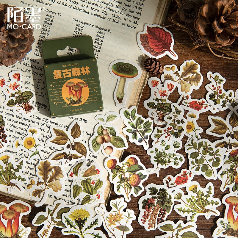 46-pz-scatola-retro-foresta-serie-decorazione-vegetale-adesivi-planner-scrapbooking-autoadesivi-del-diario-della-cancelleria-coreana