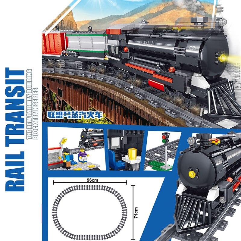 Bloques de construcción de bloques de construcción, tren de ciudad eléctrico con batería técnica de 536 Uds., juguete de regalo para niños