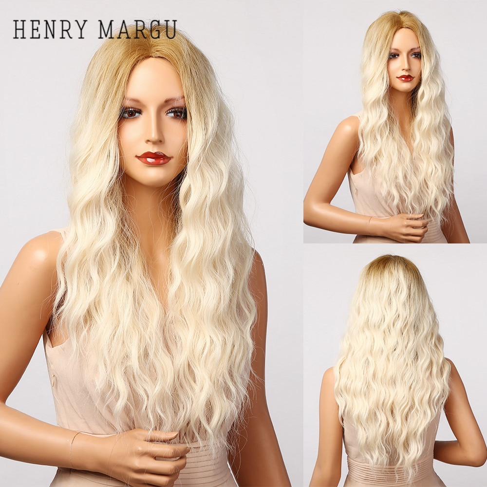 HENRY MARGU Long Blonde White Ombre Wavey Synthetic Wig For Women Natural Curly Hair Wig Middle Part Cosplay Wigs Heat Resistant