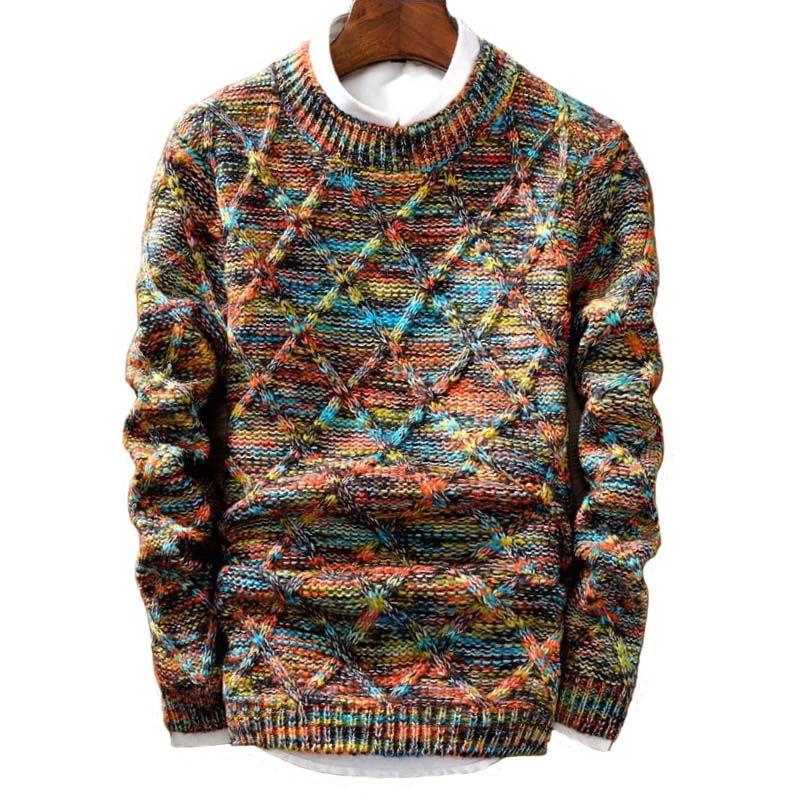 Прямая поставка, брендовый свитер, мужской брендовый Модный пуловер, мужской облегающий вязаный модный свитер в полоску с круглым вырезом, ...