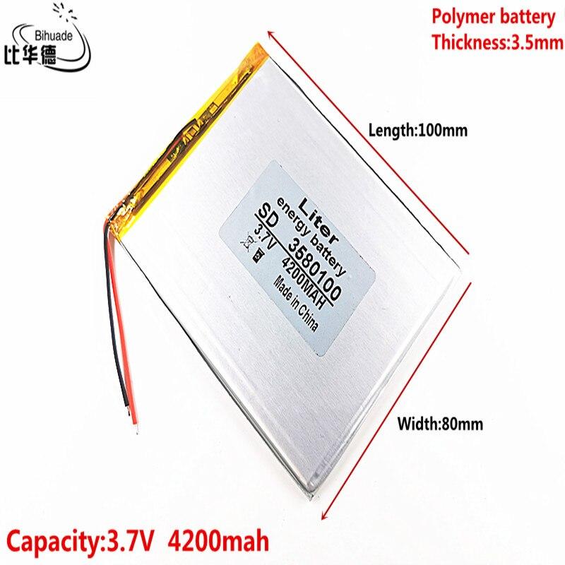 Boa bateria do li-íon da bateria do íon do lítio do polímero de qulity 3.7 v 4200mah 3580100 para o pc da tabuleta 7 polegada 8 polegada 9 polegada mp3 mp4