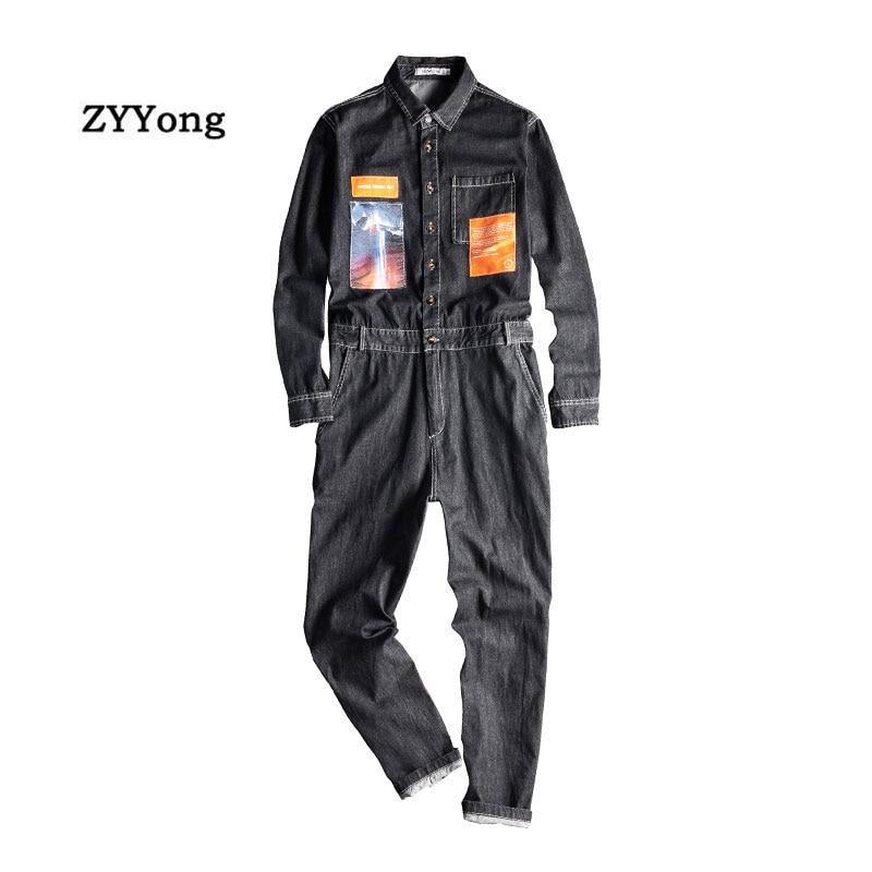 Комбинезон мужской джинсовый с длинными рукавами, Стильный комбинезон-карго в стиле хип-хоп, уличная одежда, свободный джинсовый брюки-карг...
