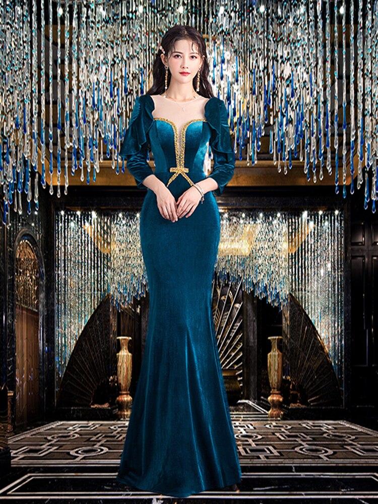 فستان سهرة كلاسيكي فاخر أنيق من المخمل بنمط القصر الملكي للنساء مأدبة مزاجه خريف شتاء كم طويل محافظ