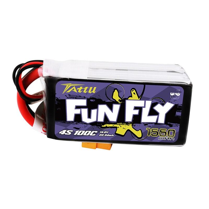 Ace TATTU FUNFLY 1300mAh 1550mAh 4S 14,8 V 100C Lipo batería con XT60 macho para FPV 250, 230, 210, 180 tamaño Drone