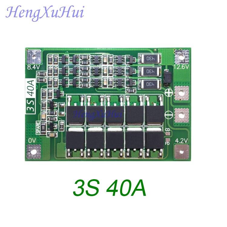 3S 40A ليثيوم أيون بطارية مجلس حماية محرك الحفر موتور 11.1V 12.6V PCB مجلس (التعادل شحن اختياري) 10 قطعة/الحزمة
