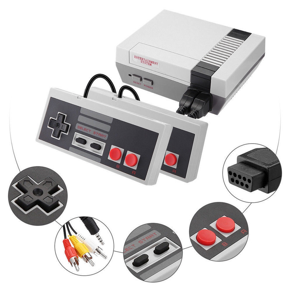 VKTECH 8 Bit Classic TV Game Console Mini Handheld game player Builit 620 Games Video Gaming Player with Dual game controllers