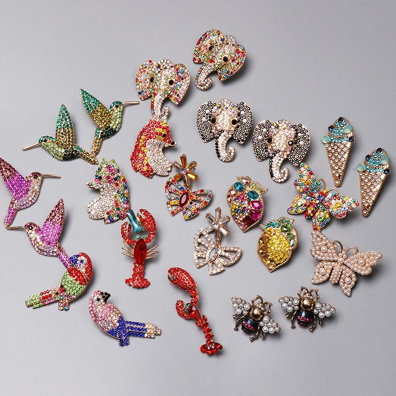 Jujia vintage borboleta lagosta brincos strass animal gota brincos feminino festa de aniversário jóias meninas