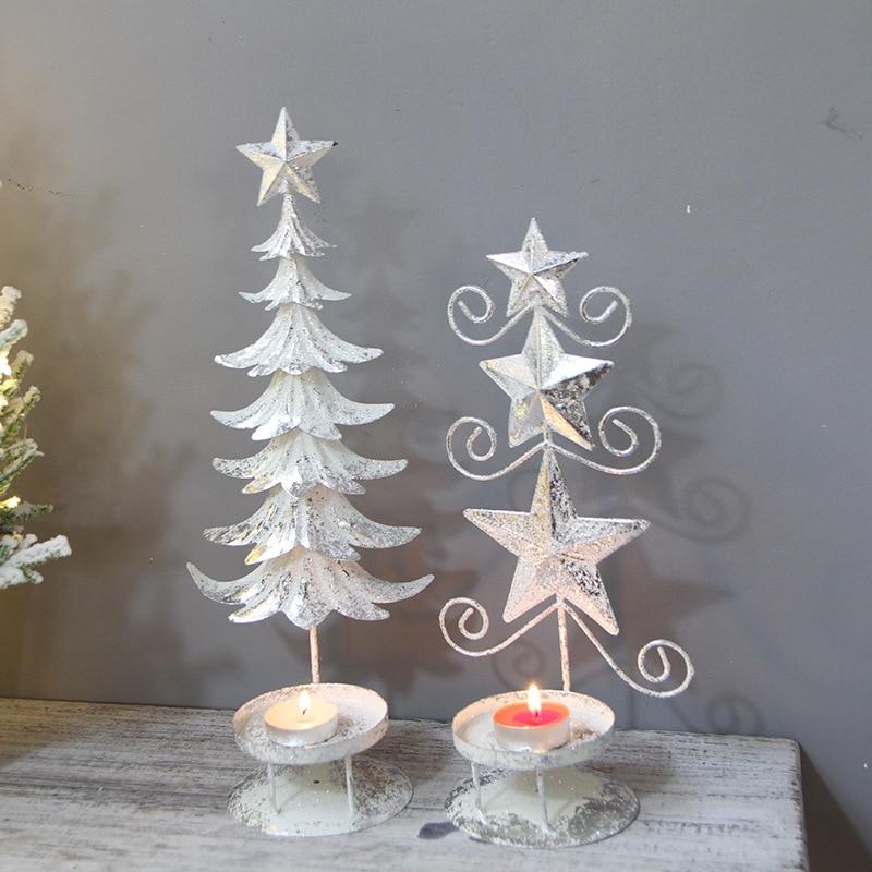 30-37cm Christmas Creative Mini Christmas Tree Luminous Candle Holder Desktop Ornaments Restaurant Window Decorations Model Toys