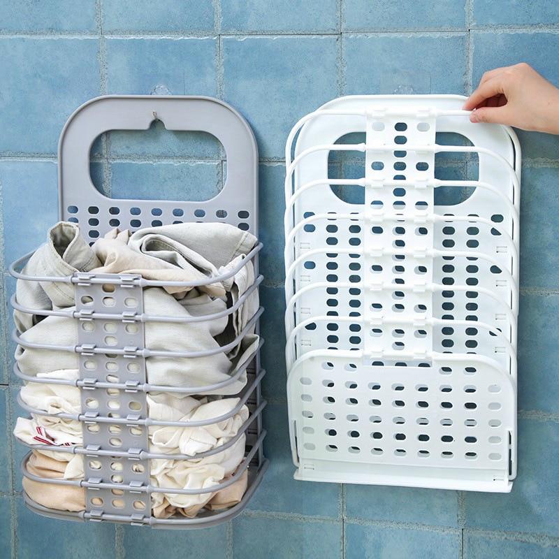 Pendurado na parede dobrável suja cesta de lavanderia buraco livre pendurado parede brinquedo cesta de armazenamento banheiro cesta de lavanderia cesta de armazenamento sujeira