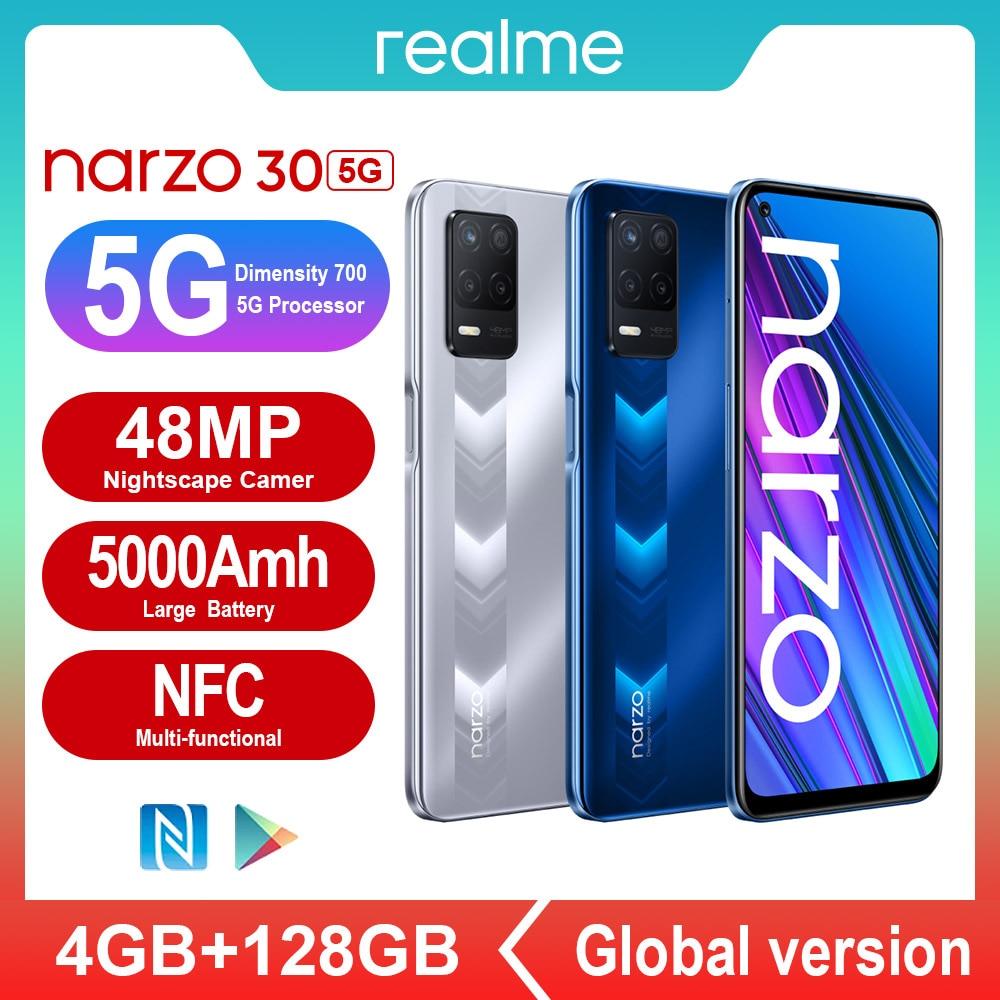 Перейти на Алиэкспресс и купить [Действительный ассортимент товаров] Realme Narzo 30 5G NFC смартфонов 4 Гб Оперативная память 128 Гб Встроенная память Dimensity 700 48MP 5000 мА/ч, умных мобильн...