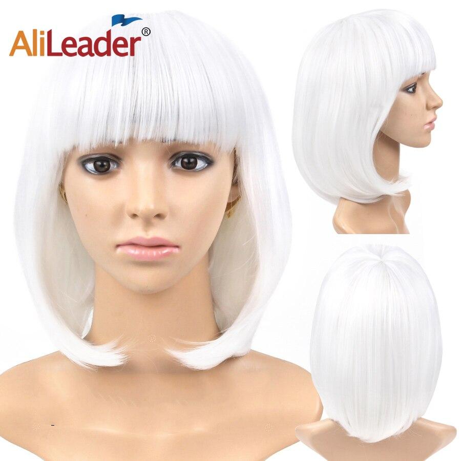 Alileader novo curto peruca sintética curta cosplay peruca com franja w.wmas sintético reta bob perucas com bang para preto
