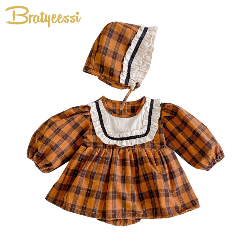 New Autumn Romper Baby Girl Clothes with Hat Cotton Plaid Baby Jumpsuit Rompers for Girls Vintage Ov