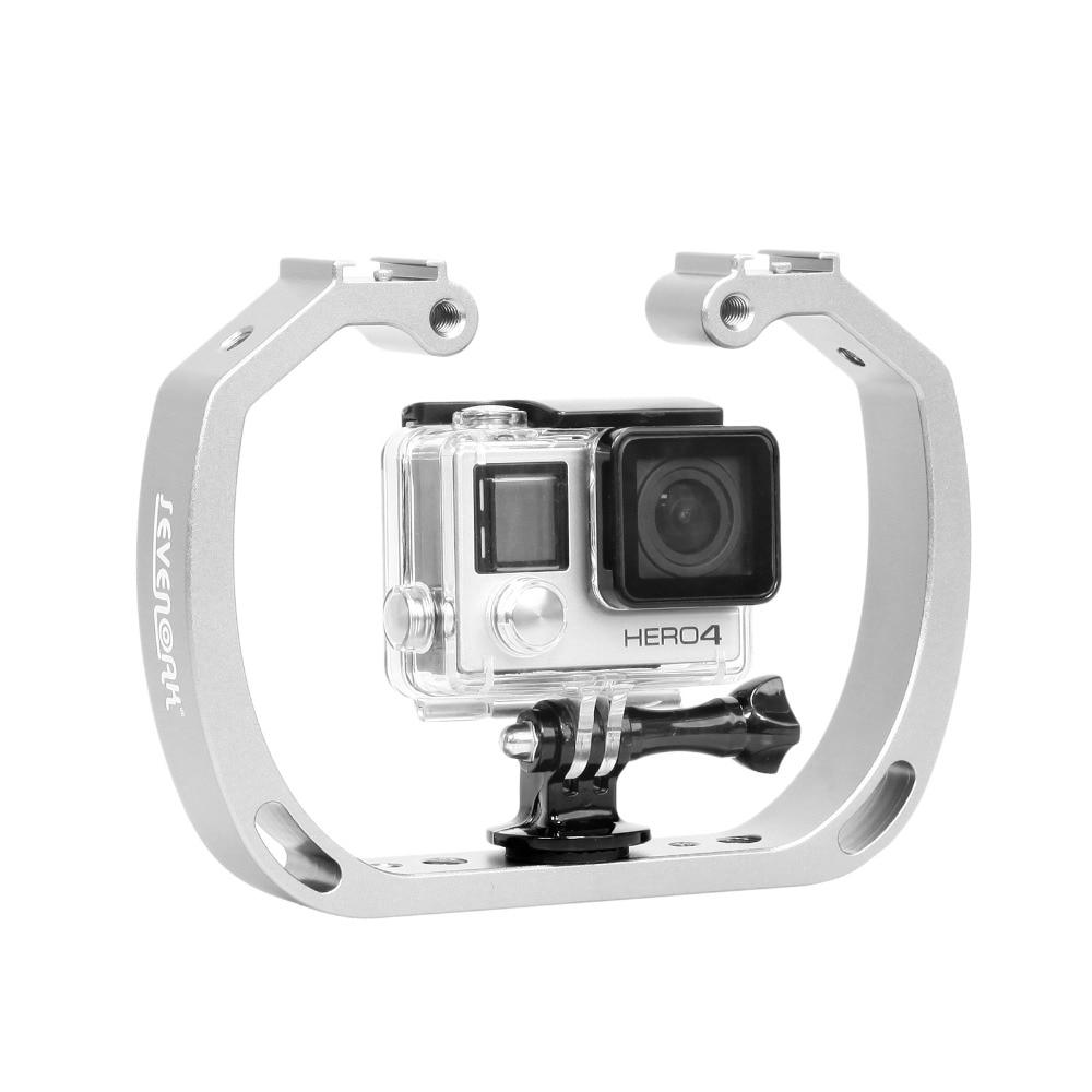 يده حامل كاميرا العمل مزدوجة الذراع صينية دعم مثبت حامل قفص ل GoPro الإكسسوارات Selfie Monopod جبل