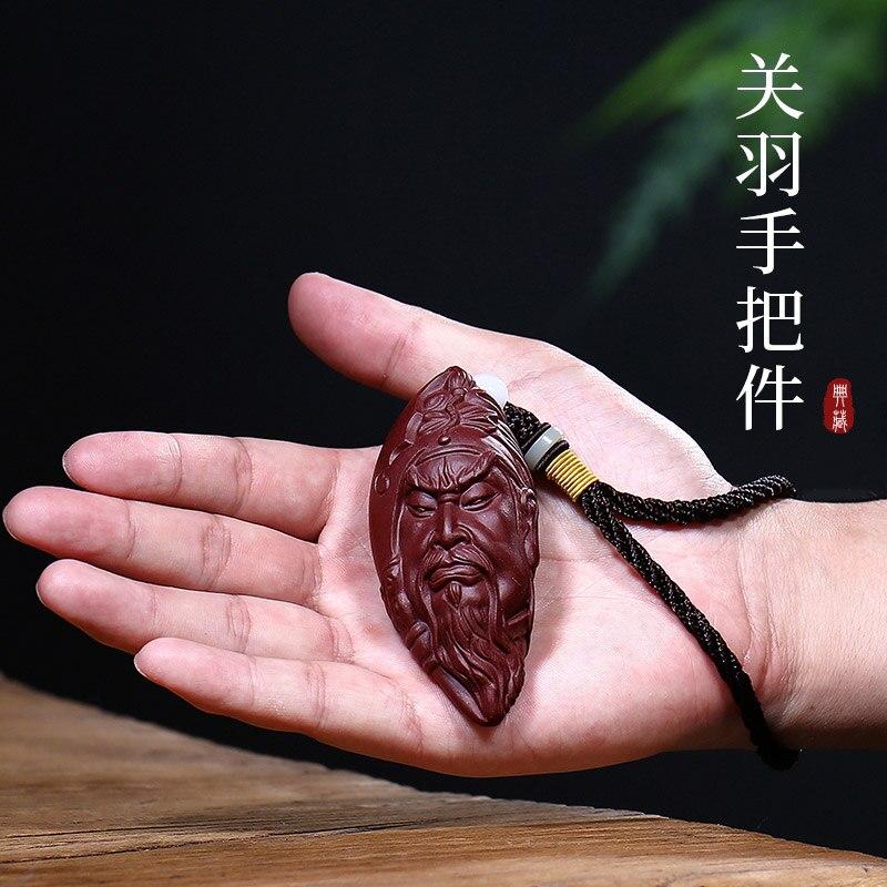 Yixing غير الملبوسات خام الأرجواني الرمال الشاي الحيوانات الأليفة دارما النحت اليدوي الشاي الشاي تأثيث المواد غوان يو اليد وضع قطع