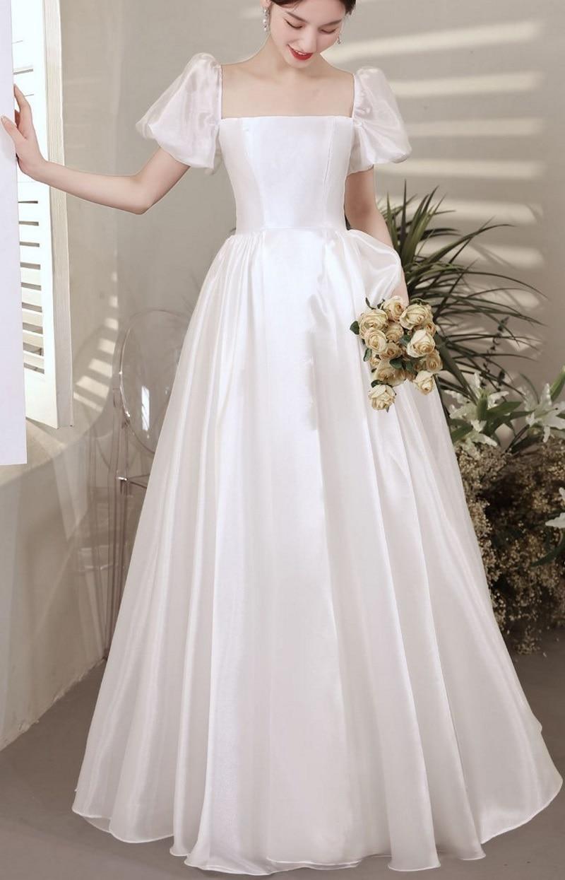 Review Elegant Simple A-Line Square Neck Satin Vintage Short Lantern Sleeve Backless Floor Length  Wedding Gown Wedding Dress Bride