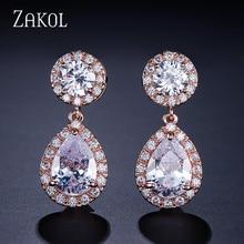 ZAKOL éblouissant grand rond cubique Zircon boucles doreilles pour la mode nuptiale couleur blanche goutte deau cristal bijoux de mariage FSEP501