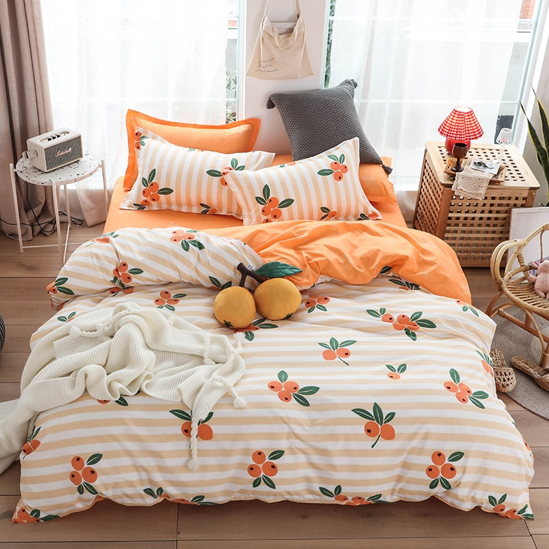 Loquat Fruit Print Bed Cover Set Kid Boy Girl Duvet Cover Adult Child Bed Sheets And Pillowcases Comforter Bedding Set 61066