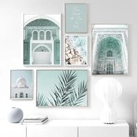 mosque islamic building beach stone wall art canvas painting nordic posters and prints wall pictures for living room home decor