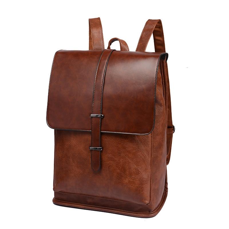 الرجال حقائب الظهر خمر جلد الذكور محمول على ظهره الأعمال حقيبة سفر حقيبة مدرسية للكلية عادية Daypack Mochila