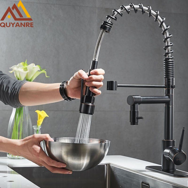 Grifo de cocina con resorte negro, pulverizador lateral extraíble, grifo mezclador con mango doble, grifo de fregadero con rotación de 360