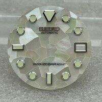 Детали для часов 28,5 мм белый циферблат зеленые светящиеся отметки Дата оконный циферблат часов подходит для японского NH35 автоматический ме...