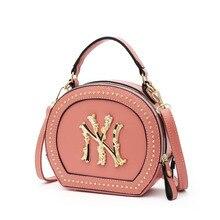Women Small Shoulder Bag Ladies Luxury Designer Purses Hand Bags Rivet Crossbody Bag NY New Round Ha