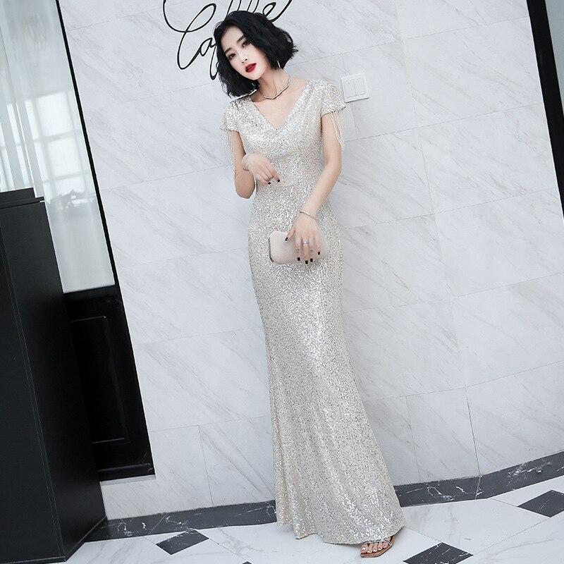2020 exquisita lentejuelas Bling bola Qipao Slim apretado Sexy vestido de fiesta...
