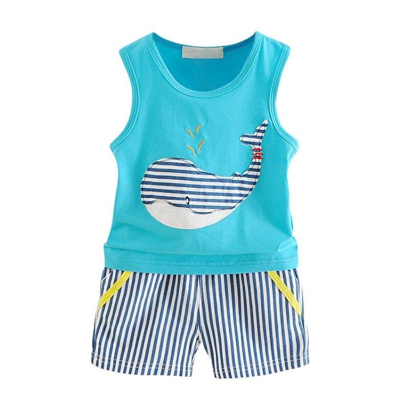 2 piezas bebé niño niña ropa marca verano niños ropa conjuntos camiseta + pantalones traje animal ballena bebé conjunto de ropa de algodón pequeño