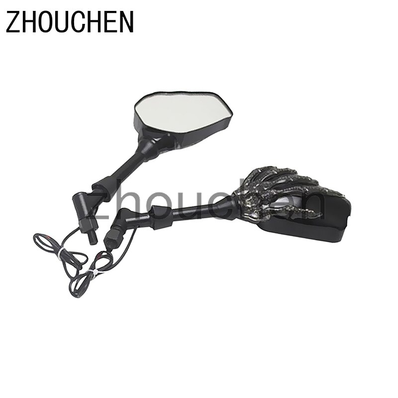 Par negro motocicleta moto ATV 8mm 10mm espejo retrovisor lateral esqueleto cráneo garra Scooter izquierda derecha con luz LED