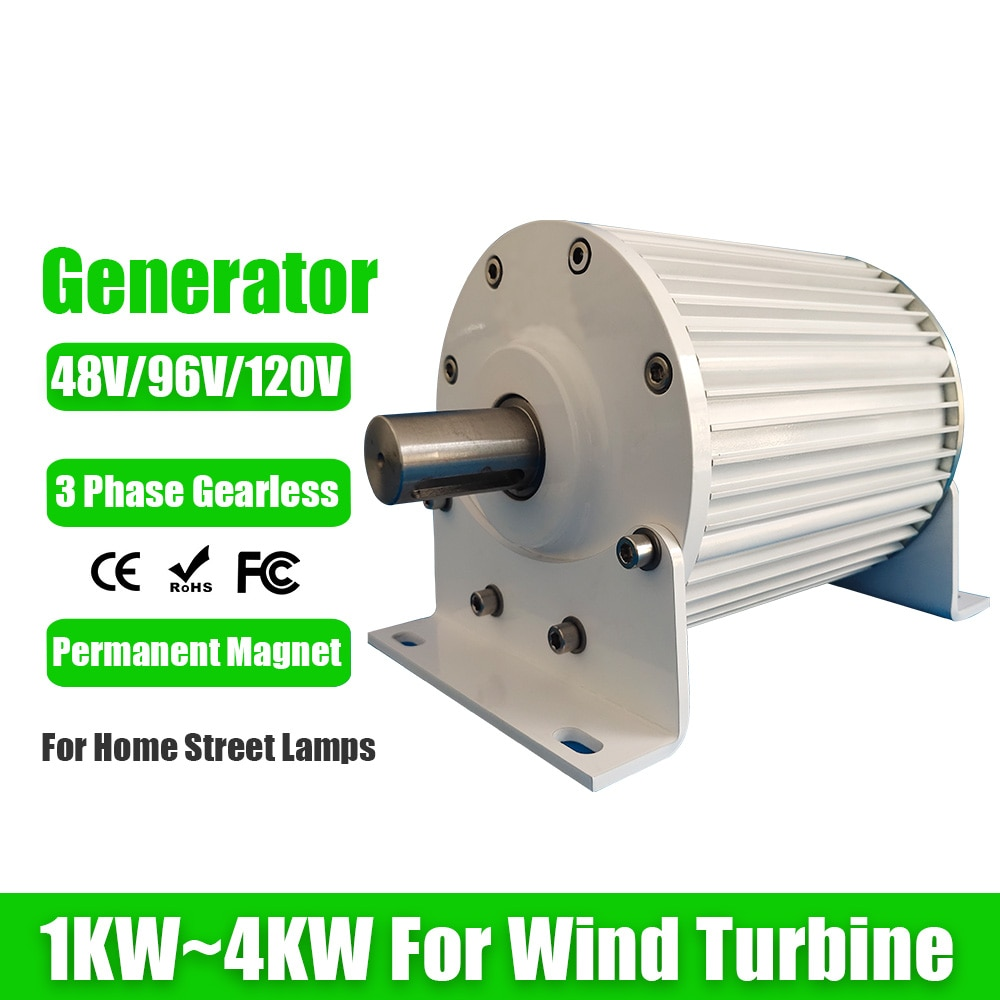 منخفض RPM سرعة 1KW-4KW 48 فولت 96 فولت 120 فولت بدون تروس مولد المغناطيس الدائم التيار المتناوب مولد لتوربينات الرياح توربين مياه
