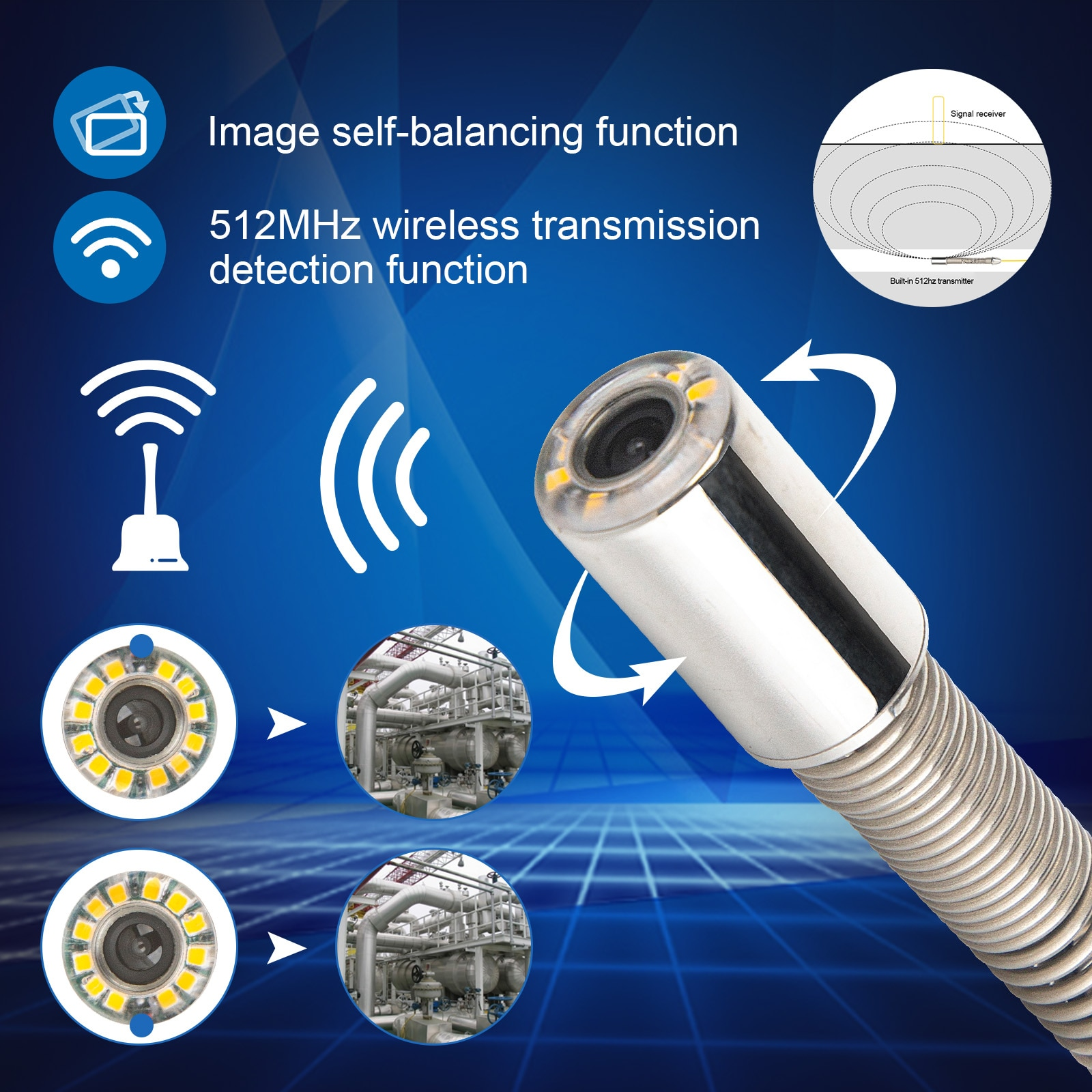 512HZ and Self-balancing Pipe Inspection Camera Waterproof IP68 and Sapphire Glass