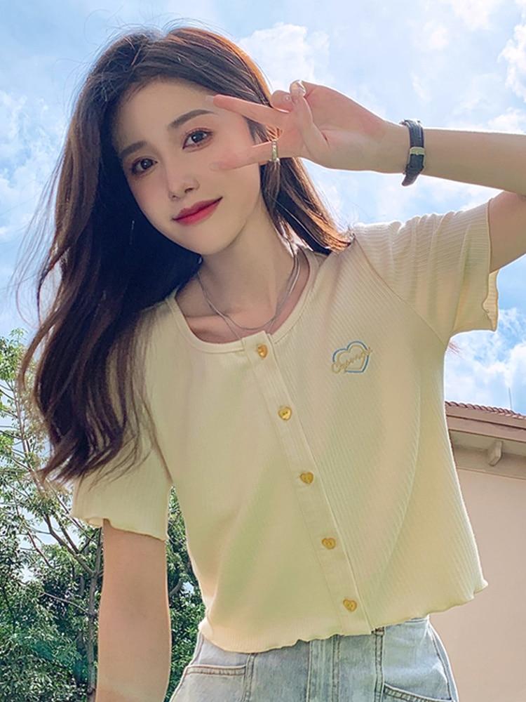 Knitted Blouse T-shirt Design Sense Short Chic Women's Wear Summer 2021 New Small Fresh Edge Short S