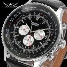 Jaragar marca de luxo relógios mecânicos automático 6 mãos pulseira couro genuíno masculino relógios preto data automática