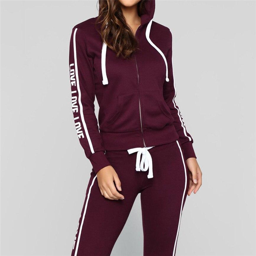 Chándal de las mujeres de la moda de la cremallera manga larga Pullove Deporte Tops + Pantalones largos conjunto de traje de pantalón de alta calidad para las mujeres 2019 A9