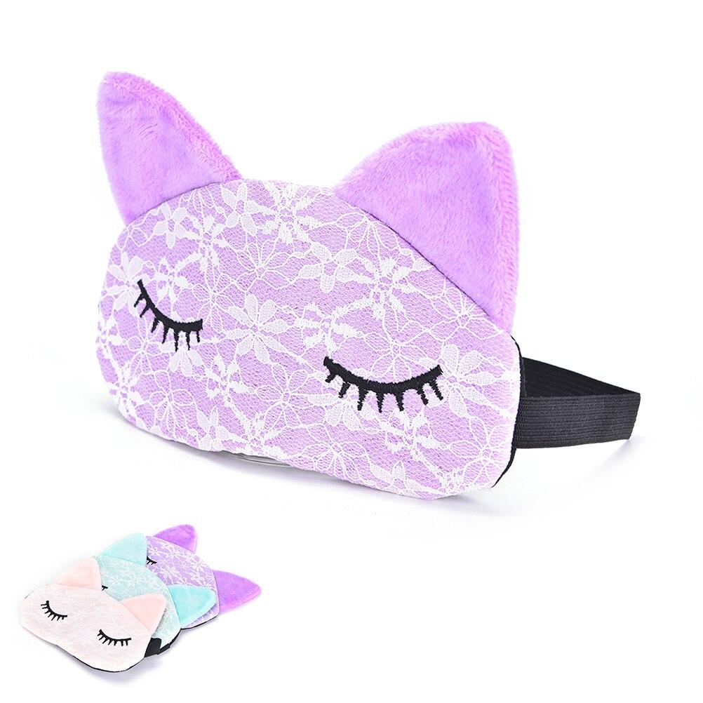 New Cartoon Lace Eyeshade Sleeping Mask Cover Eye Eyepatch Blindfolds To Shield The Light Cute Cat Eyeshade Sleeping Care Tool