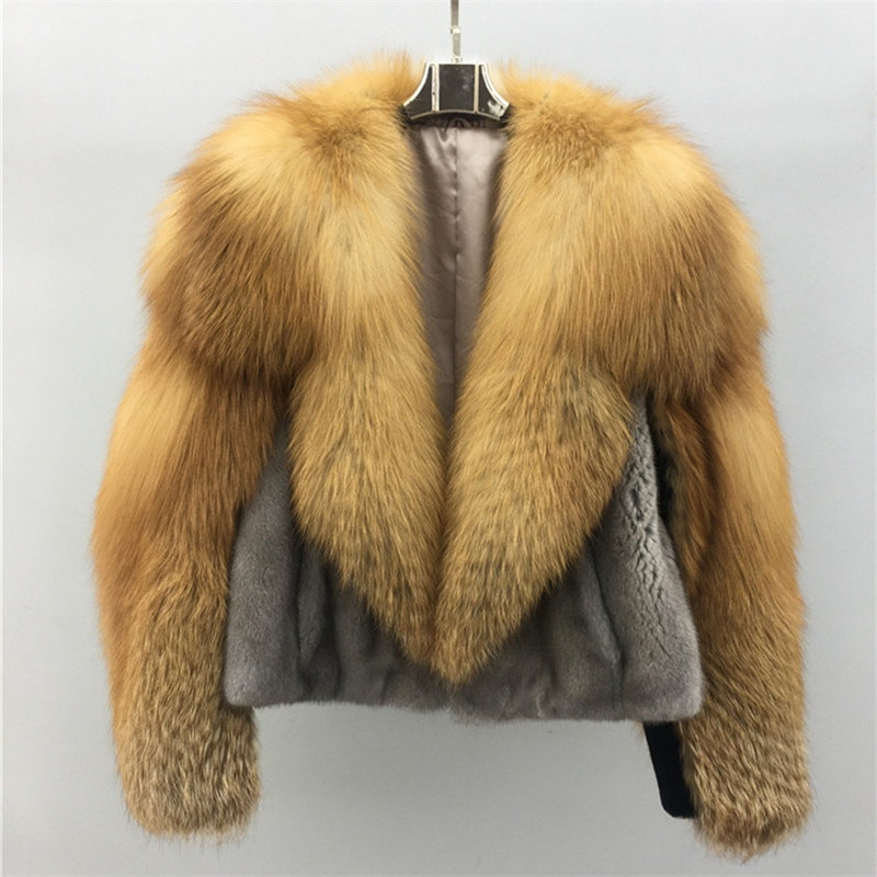 Fashion Large Red Fox Fur Collar Genuine Mink Fur Jacket Short For Women Natural Whole Skin Mink Fur Coats Winter Warm Fur Coat