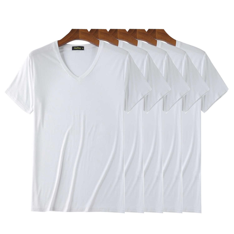 Cuello En V T Camisas Para Hombres Manga Corta De Bambú Transpirable Camiseta Simple Paquete De 5 Confort Fresco Protectora De Sol Negro Camiseta Hombre Camisetas Aliexpress