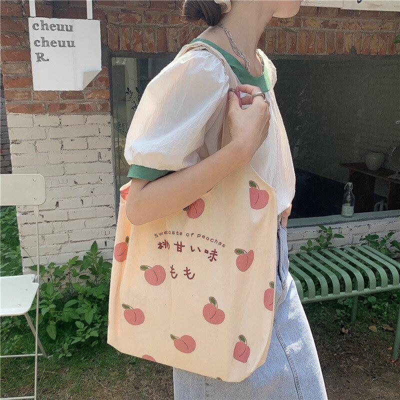 Canvas bag female summer small fresh peach print shoulder bag college student school bag