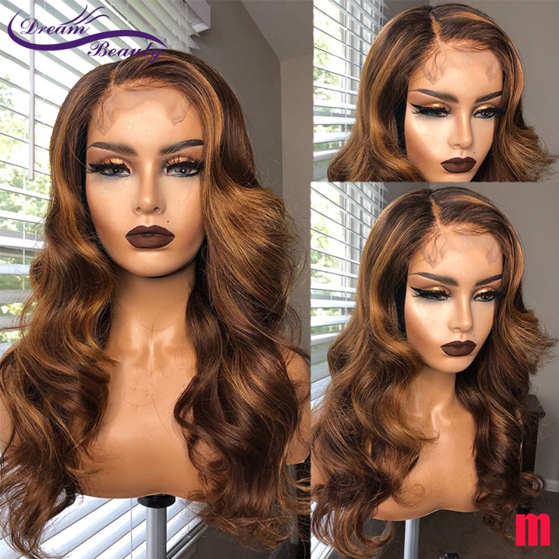 Highligt Ombre Color 13x4 Lace Front Wig Remy Hair 220% Brazilian Wave Human Hair Wigs For Women 4X4