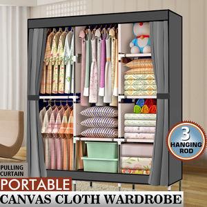 "【US Warehouse】71"" Portable Closet Wardrobe Clothes Rack Storage Organizer wardrobes with Shelf Gray   Garderobe Wardrobe"
