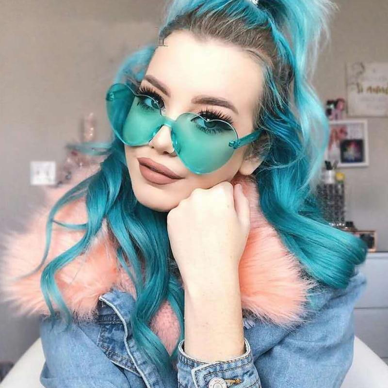 Love Heart Sunglasses Women Brand Designer New Fashion Cute Sexy Retro Cat Eye Vintage Cheap Sun Gla
