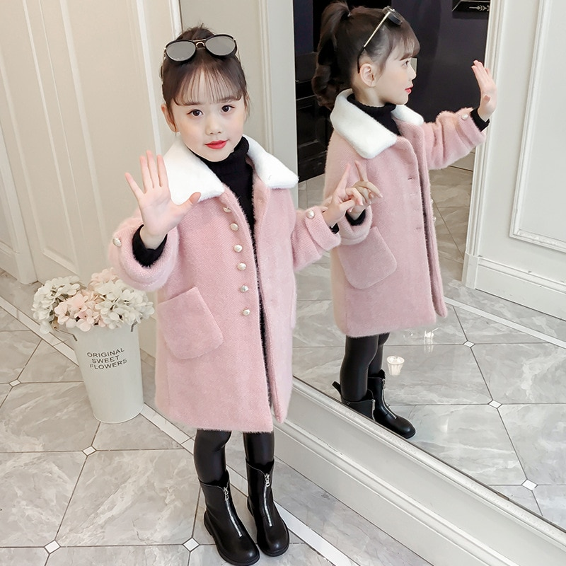 Pink Girls Winter Jackets Coats Imitated Mink Cashmere Kids Parkas Woolen Coat For Girls Outerwear Children Clothing 4-14 Years enlarge