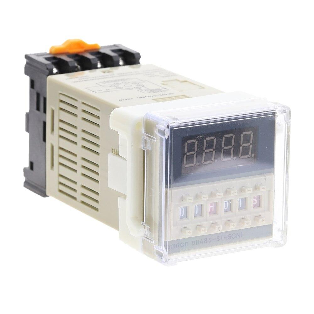 1Pcs DH48S-S Programmable Double Time Delay Relay Socket Base Voltage DC12V DC24V AC110 AC220V
