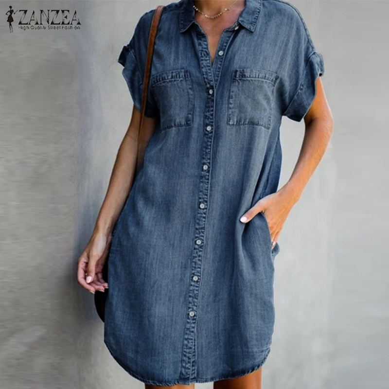 2020 moda vestido de camisa azul ZANZEA verano Sexy Mini vestido de las mujeres pantalón corto Casual Vestidos de manga mujer traje de talla grande