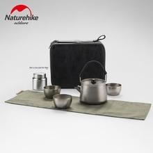 Naturehike البرية التيتانيوم طقم شاي التيتانيوم النقي فنجان شاي صغير في الهواء الطلق الشاي صنع جهاز التيتانيوم إبريق الشاي التيتانيوم كوب