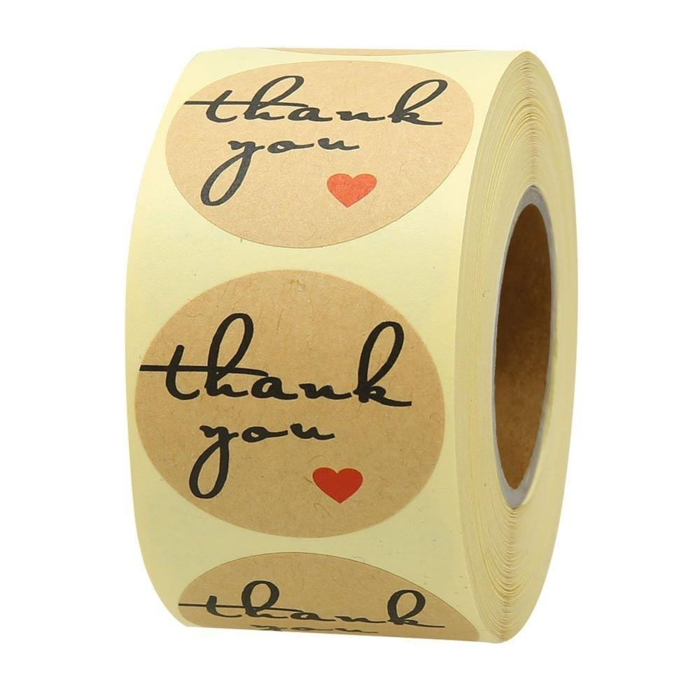 Round Thank You Sticker Seal Labels 500 Pcs/roll Brown Stationery Stickers For Mailing Supplies Packaging Decoration Stickers