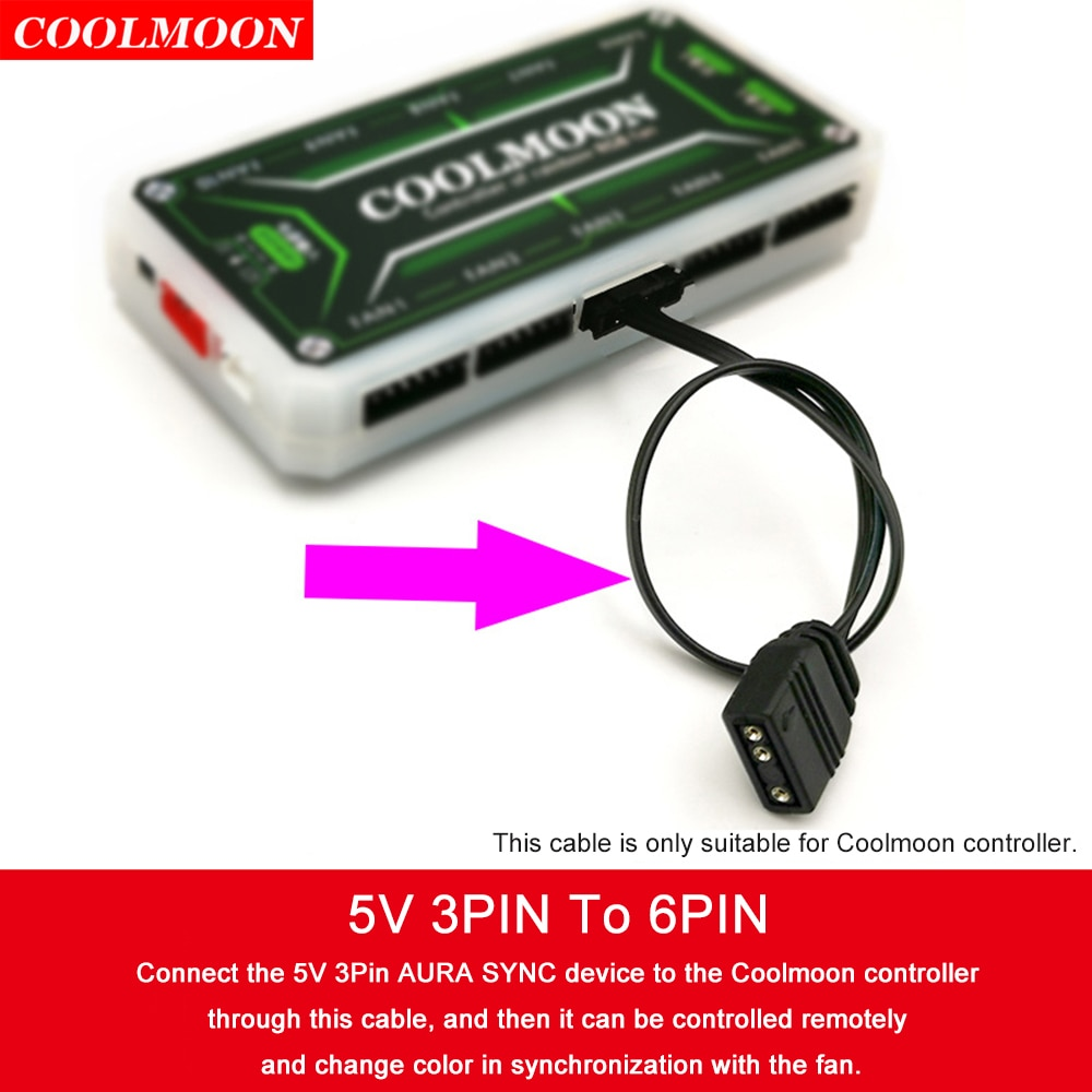 1pc 5V 3Pin to 6Pin/4Pin Fan Controller Adapter Cable for Coolmoon Heat Dissipation ARGB Cooling Fans Light Strip Controller