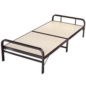 Steel-wood folding bed single rental room simple nap cot, dormitory iron frame hospital accompany hard board bed