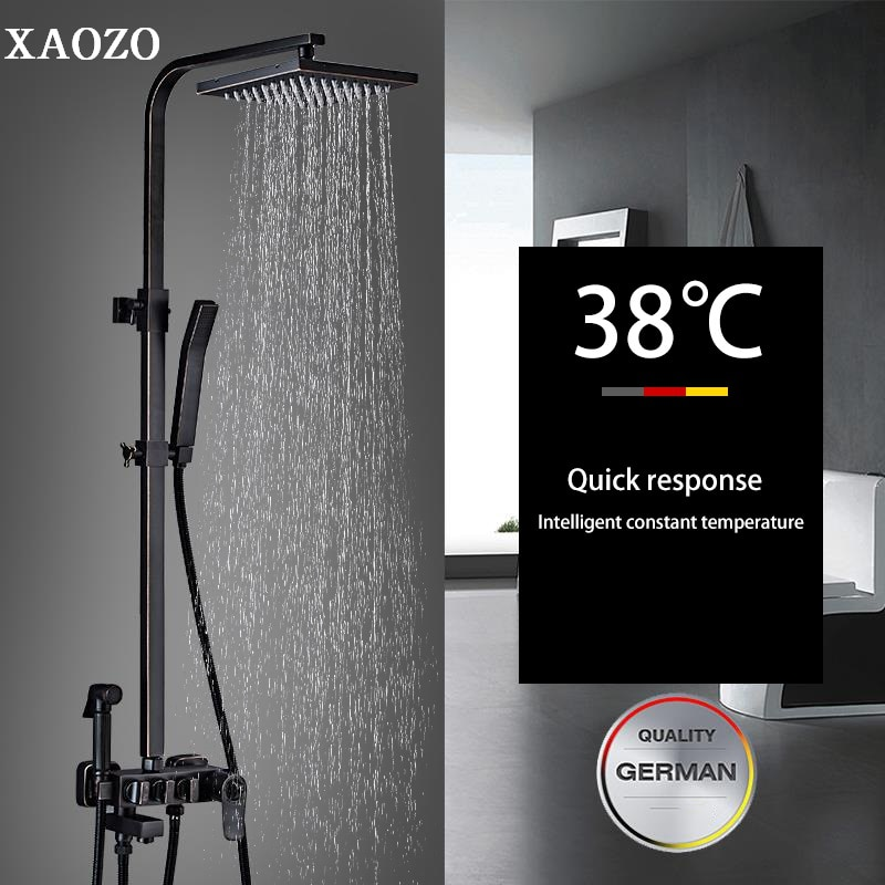 large flow thermostatic valve with led ceiling shower head quick open mixer luxury bath shower rain waterfall mist massage z5422 Bathroom Brass Shower Set Black ORB Antique Rain Head Bath Shower Mixer with Hand Shower Faucet Rainfall Mixer thermostatic