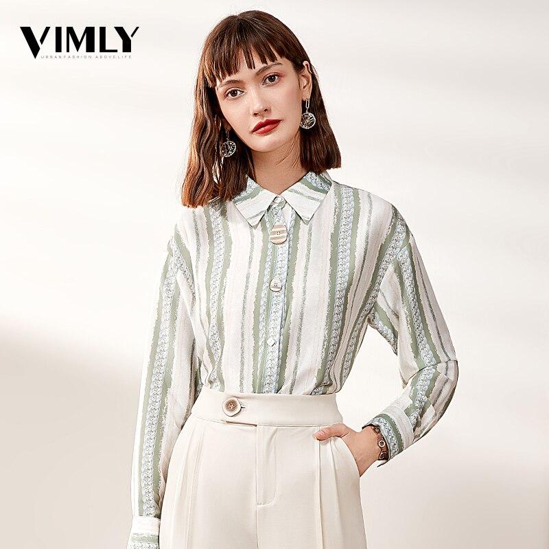 Vimly Oficina señoras Vintage Camisas Mujer rayas verde blusa camisa femenina Casual trabajo negocios camisetas